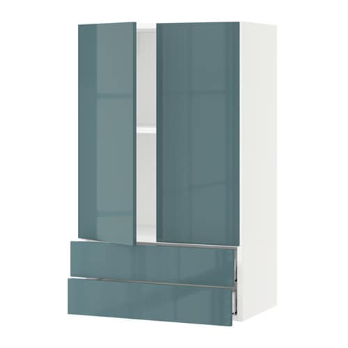 sektion armoire murale 2portes 2tiroirs blanc kallarp ultrabrillant gris turquoise 24x15x40. Black Bedroom Furniture Sets. Home Design Ideas