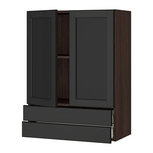 sektion armoire murale 2portes 2tiroirs effet bois brun laxarby brun noir 30x15x40 ikea. Black Bedroom Furniture Sets. Home Design Ideas