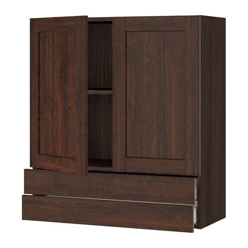 sektion armoire murale 2portes 2tiroirs effet bois brun edserum effet bois brun 36x15x40. Black Bedroom Furniture Sets. Home Design Ideas