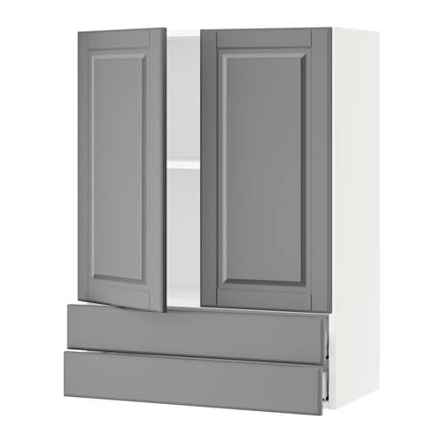 sektion armoire murale 2portes 2tiroirs blanc bodbyn gris 30x15x40 ikea. Black Bedroom Furniture Sets. Home Design Ideas