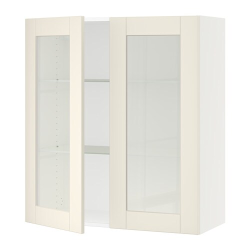 sektion armoire murale 2 portes vitr es blanc grimsl v. Black Bedroom Furniture Sets. Home Design Ideas