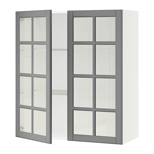 sektion armoire murale 2 portes vitr es blanc bodbyn. Black Bedroom Furniture Sets. Home Design Ideas
