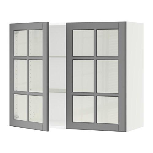 sektion armoire murale 2 portes vitr es blanc bodbyn gris 36x15x30 ikea. Black Bedroom Furniture Sets. Home Design Ideas