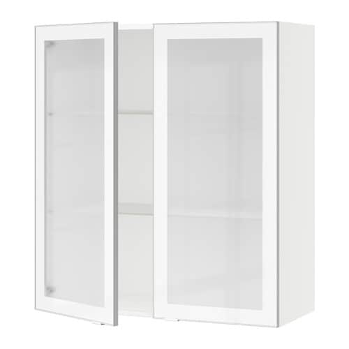 sektion armoire murale 2 portes vitr es blanc jutis verre d poli aluminium 36x15x40 ikea. Black Bedroom Furniture Sets. Home Design Ideas