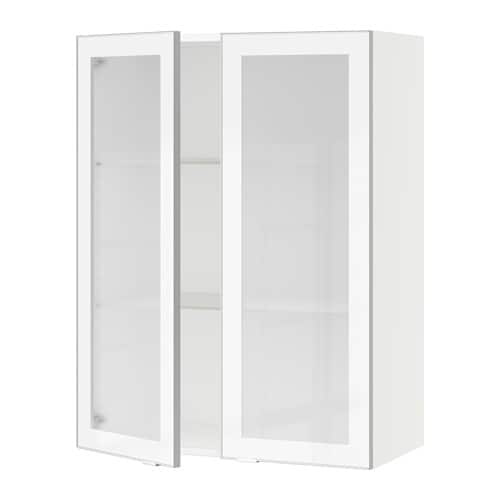 sektion armoire murale 2 portes vitr es blanc jutis verre d poli aluminium 30x15x40 ikea. Black Bedroom Furniture Sets. Home Design Ideas