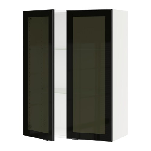 sektion armoire murale 2 portes vitr es blanc jutis. Black Bedroom Furniture Sets. Home Design Ideas