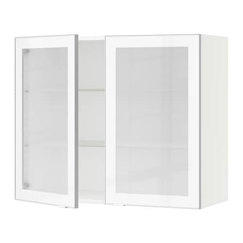 sektion armoire murale 2 portes vitr es blanc jutis verre d poli aluminium 36x15x30 ikea. Black Bedroom Furniture Sets. Home Design Ideas