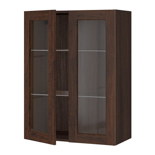 sektion armoire murale 2 portes vitr es effet bois brun edserum effet bois brun 30x15x40. Black Bedroom Furniture Sets. Home Design Ideas