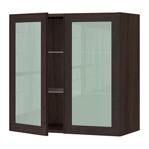 sektion armoire murale 2 portes vitr es effet bois brun ekestad brun 30x15x30 ikea. Black Bedroom Furniture Sets. Home Design Ideas