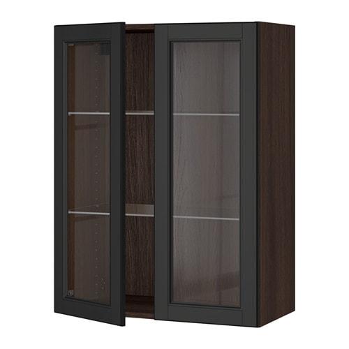 sektion armoire murale 2 portes vitr es effet bois brun laxarby brun noir 30x15x40 ikea. Black Bedroom Furniture Sets. Home Design Ideas