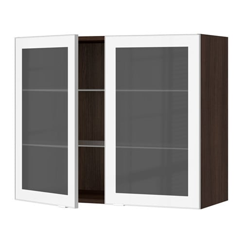 sektion armoire murale 2 portes vitr es effet bois brun jutis verre d poli aluminium. Black Bedroom Furniture Sets. Home Design Ideas