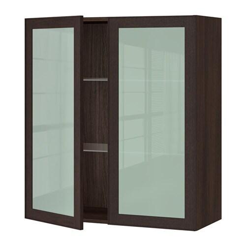 sektion armoire murale 2 portes vitr es effet bois brun ekestad brun 36x15x40 ikea. Black Bedroom Furniture Sets. Home Design Ideas