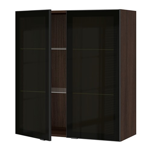 sektion armoire murale 2 portes vitr es effet bois brun jutis verre fum noir 36x15x40 ikea. Black Bedroom Furniture Sets. Home Design Ideas
