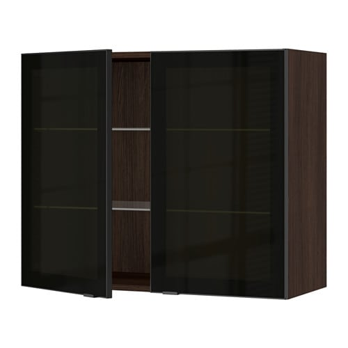sektion armoire murale 2 portes vitr es effet bois brun. Black Bedroom Furniture Sets. Home Design Ideas
