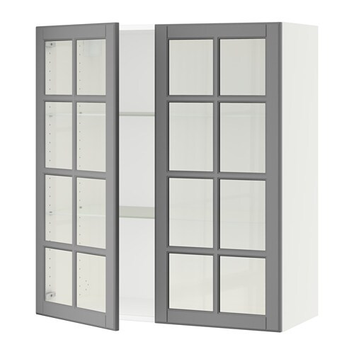 sektion armoire murale 2 portes vitr es blanc bodbyn. Black Bedroom Furniture Sets. Home Design Ideas