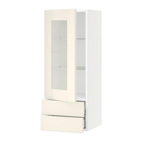 sektion armoire murale pte vitr e 2 tiroirs blanc grimsl v blanc cass 15x15x40 ikea. Black Bedroom Furniture Sets. Home Design Ideas
