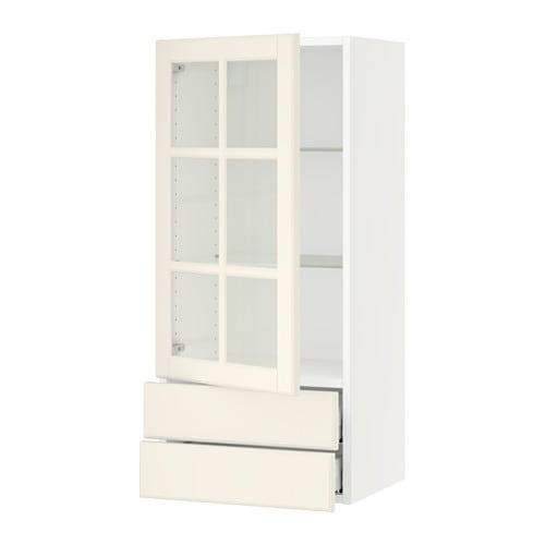 sektion armoire murale pte vitr e 2 tiroirs blanc. Black Bedroom Furniture Sets. Home Design Ideas