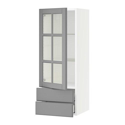 sektion armoire murale pte vitr e 2 tiroirs blanc bodbyn gris 15x15x40 ikea. Black Bedroom Furniture Sets. Home Design Ideas
