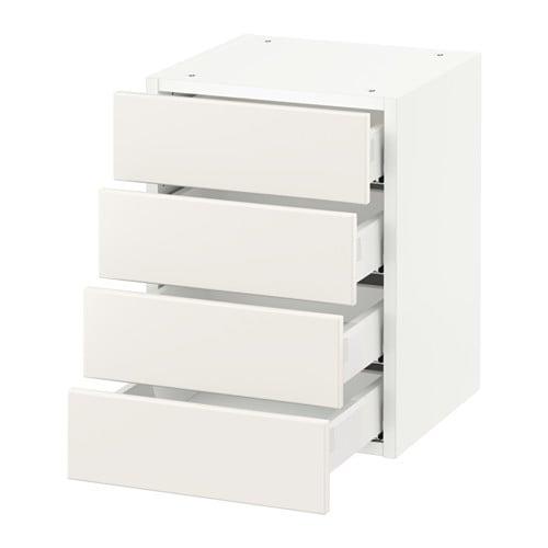 sektion armoire murale 4 tiroirs blanc veddinge blanc. Black Bedroom Furniture Sets. Home Design Ideas