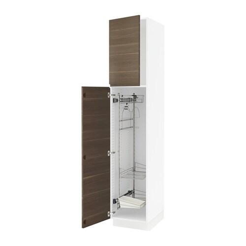 sektion armoire rangement coulissant blanc voxtorp effet noyer 18x24x90 ikea. Black Bedroom Furniture Sets. Home Design Ideas