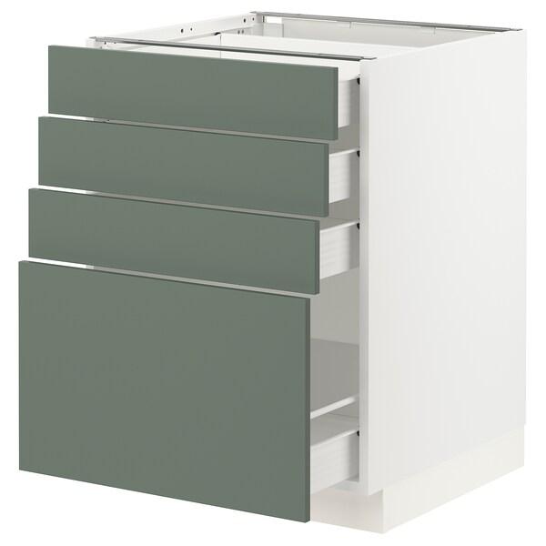 "SEKTION / FÖRVARA Armoire inf 4 tir, blanc/Bodarp gris-vert, 24x24x30 """
