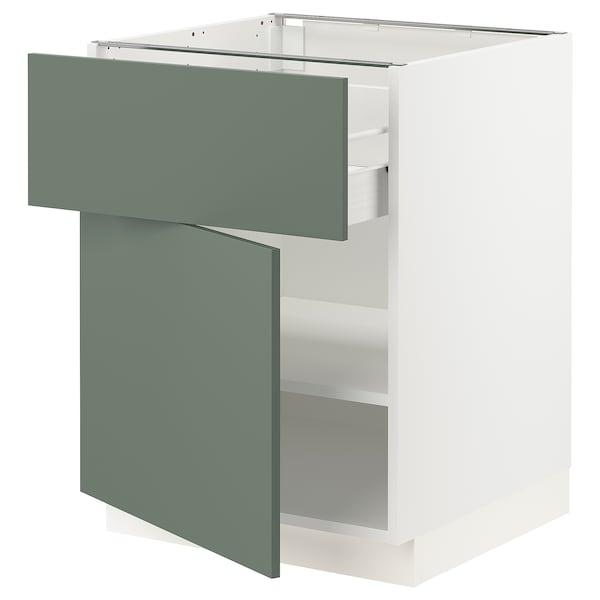 "SEKTION / FÖRVARA Armoire inférieure av tiroir/porte, blanc/Bodarp gris-vert, 24x24x30 """