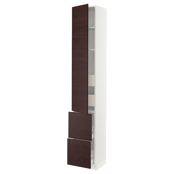 "SEKTION / MAXIMERA Arm 1 porte/2 faces/4 tiroirs, blanc Askersund/brun foncé effet frêne, 15x15x90 """