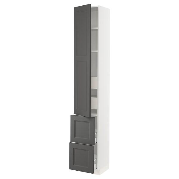 "SEKTION / MAXIMERA Arm 1 porte/2 faces/4 tiroirs, blanc/Axstad gris foncé, 15x15x90 """