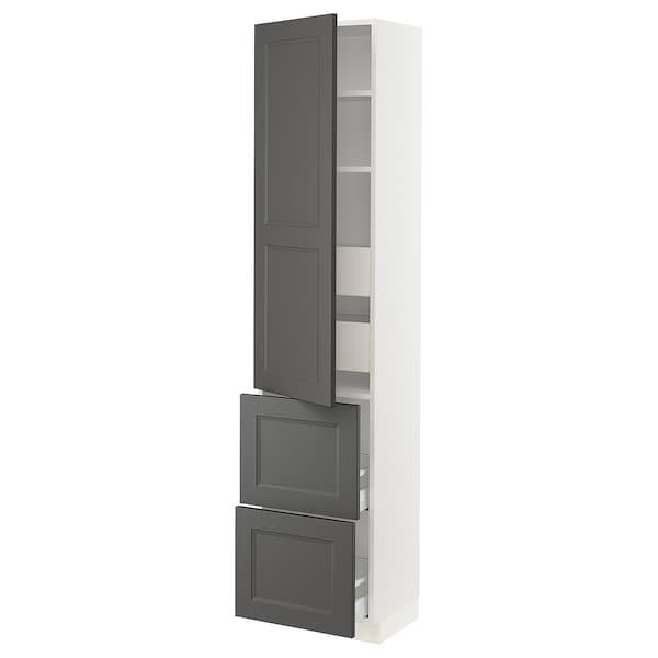 "SEKTION / MAXIMERA Arm 1 porte/2 faces/4 tiroirs, blanc/Axstad gris foncé, 18x15x80 """