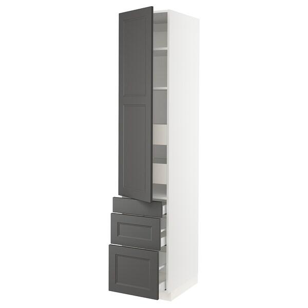 "SEKTION / MAXIMERA Arm 1 porte/3 faces/5 tiroirs, blanc/Axstad gris foncé, 18x24x90 """