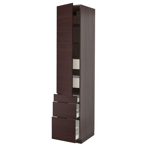 "SEKTION / MAXIMERA Arm 1 porte/3 faces/5 tiroirs, brun Askersund/brun foncé effet frêne, 18x24x90 """
