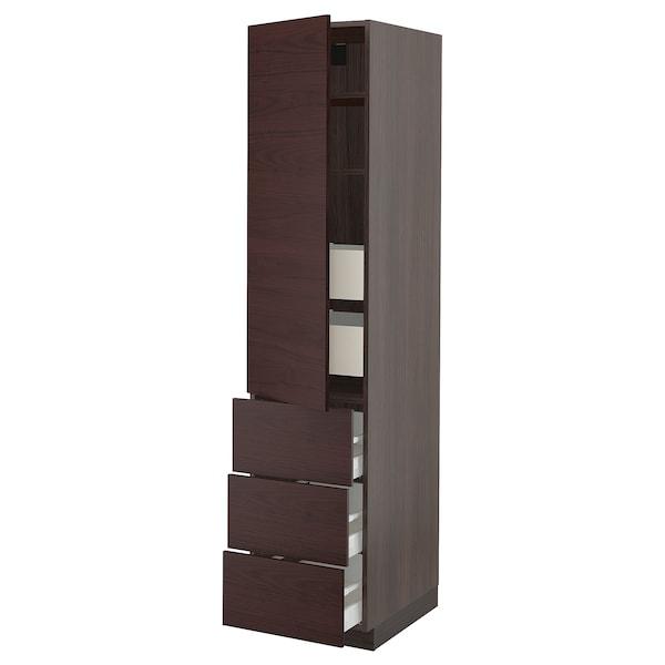 "SEKTION / MAXIMERA Arm 1 porte/3 faces/5 tiroirs, brun Askersund/brun foncé effet frêne, 18x24x80 """