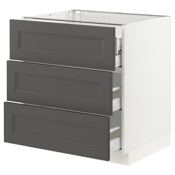 "SEKTION / MAXIMERA Arm inf 3 faces/4 tiroirs, blanc/Axstad gris foncé, 30x24x30 """