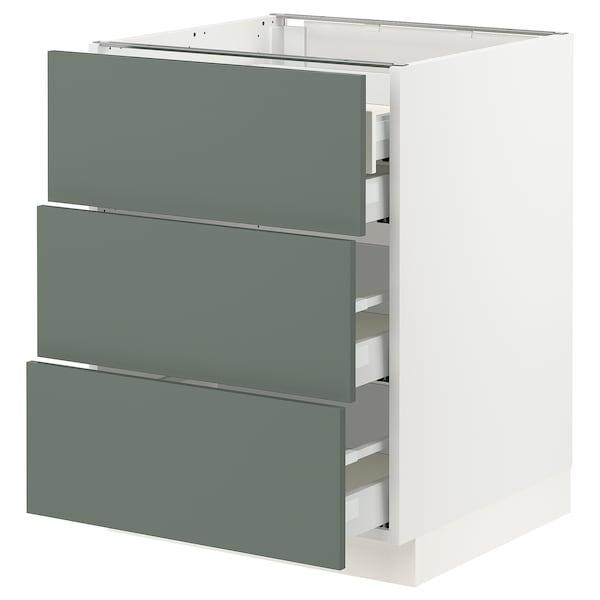 "SEKTION / MAXIMERA Arm inf 3 faces/4 tiroirs, blanc/Bodarp gris-vert, 24x24x30 """