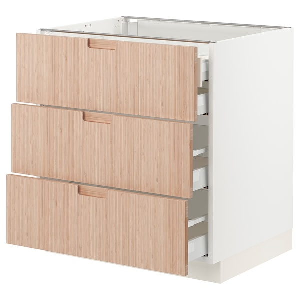 SEKTION / MAXIMERA Arm inf 3 faces/4 tiroirs, blanc/Fröjered bambou clair, 30x24x30 ""
