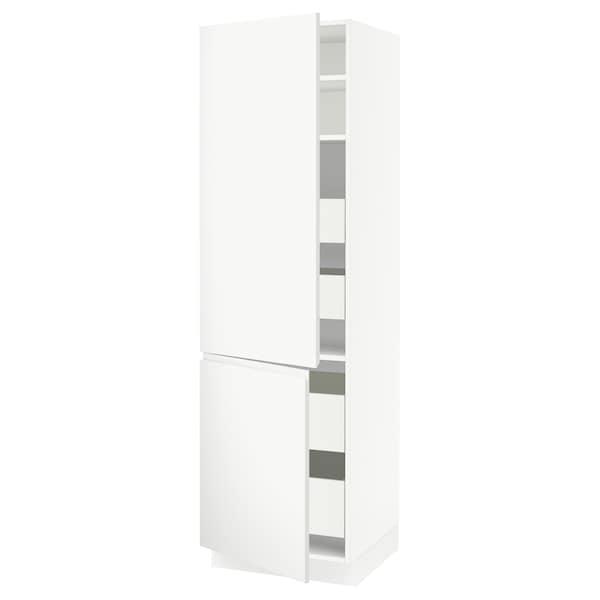 "SEKTION / MAXIMERA Armoire haute+2portes/tabl/4tiroirs, blanc/Voxtorp blanc mat, 24x24x80 """