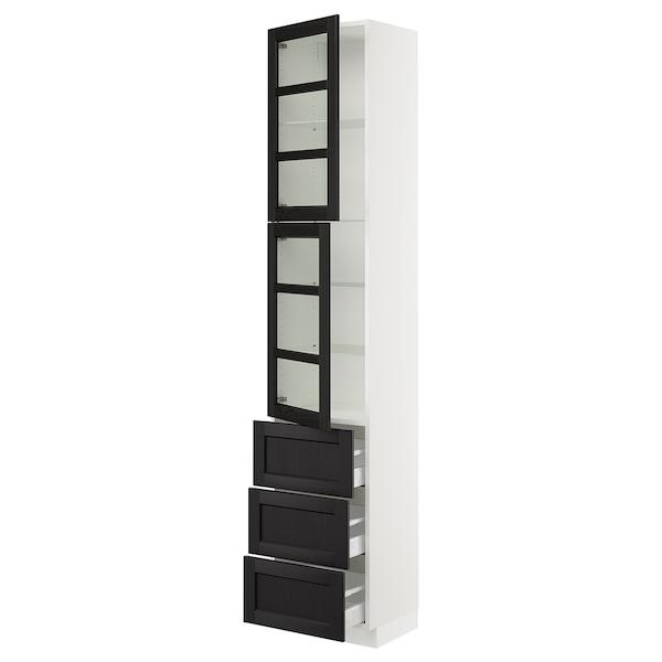 "SEKTION / MAXIMERA Armoire haute av 2 ptes vitr/3 tir, blanc/Lerhyttan teinté noir, 18x15x90 """