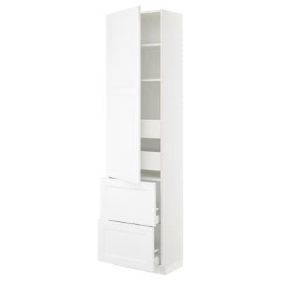 "SEKTION / MAXIMERA Armoire haute porte/2 faces/4 tir, blanc/Axstad blanc mat, 24x15x90 """