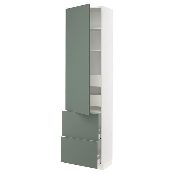 "SEKTION / MAXIMERA Armoire haute porte/2 faces/4 tir, blanc/Bodarp gris-vert, 24x15x90 """