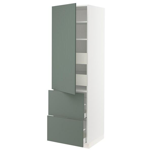 "SEKTION / MAXIMERA Armoire haute porte/2 faces/4 tir, blanc/Bodarp gris-vert, 24x24x80 """