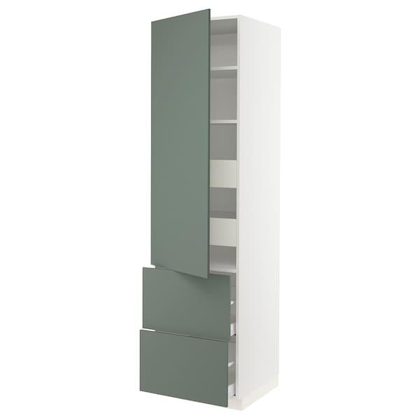"SEKTION / MAXIMERA Armoire haute porte/2 faces/4 tir, blanc/Bodarp gris-vert, 24x24x90 """