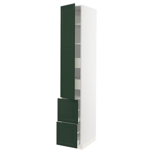 "SEKTION / MAXIMERA Armoire haute porte/2 faces/4 tir, blanc/Bodbyn vert foncé, 15x24x90 """