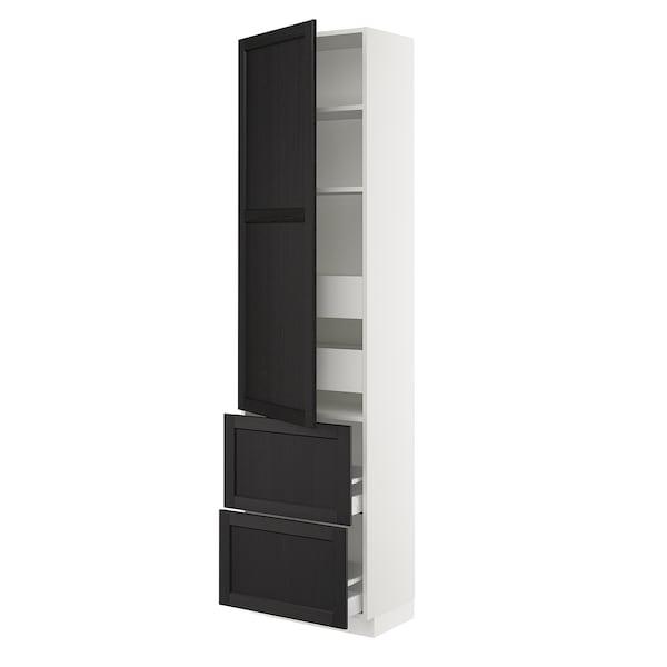 "SEKTION / MAXIMERA Armoire haute porte/2 faces/4 tir, blanc/Lerhyttan teinté noir, 24x15x90 """