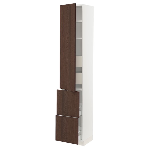 "SEKTION / MAXIMERA Armoire haute porte/2 faces/4 tir, blanc/Sinarp brun, 15x15x80 """