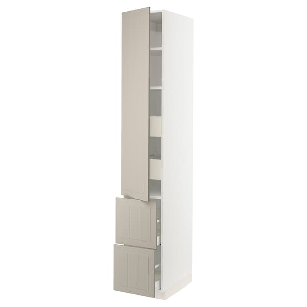 "SEKTION / MAXIMERA Armoire haute porte/2 faces/4 tir, blanc/Stensund beige, 15x24x90 """