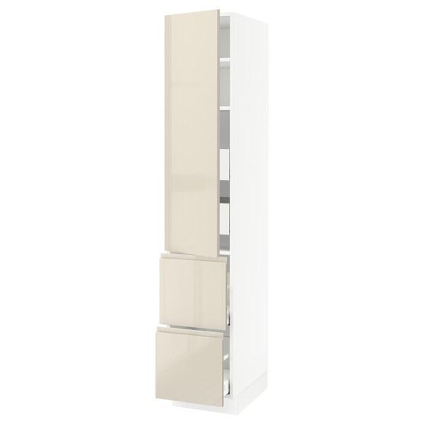 """SEKTION / MAXIMERA Armoire haute porte/2 faces/4 tir, blanc/Voxtorp beige clair ultrabrillant, 15x24x80 """""""