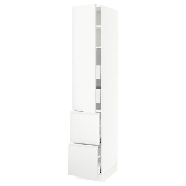 """SEKTION / MAXIMERA Armoire haute porte/2 faces/4 tir, blanc/Voxtorp blanc mat, 15x24x80 """""""