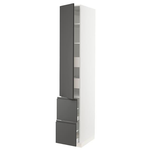 """SEKTION / MAXIMERA Armoire haute porte/2 faces/4 tir, blanc/Voxtorp gris foncé, 15x24x90 """""""