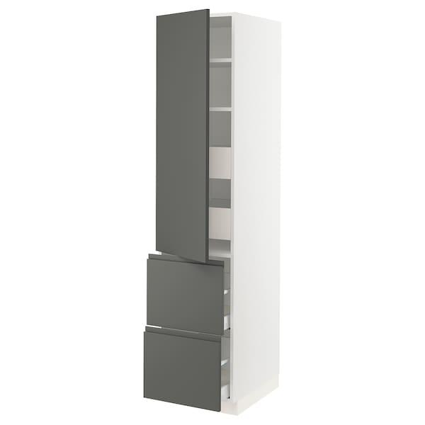 """SEKTION / MAXIMERA Armoire haute porte/2 faces/4 tir, blanc/Voxtorp gris foncé, 18x24x80 """""""
