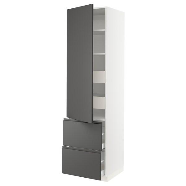 """SEKTION / MAXIMERA Armoire haute porte/2 faces/4 tir, blanc/Voxtorp gris foncé, 24x24x90 """""""